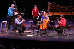 ENSEMBLE VIVANT L to R: Jim Vivian, bass, Corey Gemmell, violin; Catherine Wilson, piano; Sybil Shanahan, cello; Norman Hathaway, violin. Photo by Marion Voysey