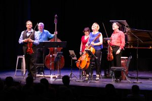ENSEMBLE VIVANT L to R: Jim Vivian, bass; Corey Gemmell, violin; Catherine Wilson, piano; Sybil Shanahan, cello; Norman Hathaway, viola. Photo by Marion Voysey