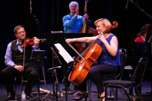 Corey Gemmell, violin; Jim Vivian, bass; Sybil Shanahan, cello. Photo by Marion Voysey