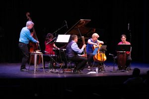 ENSEMBLE VIVANT : L to R: Jim Vivian, bass; Corey Gemmell, violin; Catherine Wilson, piano; Sybil Shanahan, cello; Norman Hathaway, viola. Photo by Marion Voysey