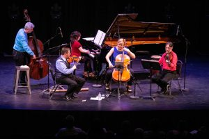 ENSEMBLE VIVANT: Jim Vivian, bass; Catherine Wilson, piano; Corey Gemmell, violin; Sybil Shanahan, cello; Norman Hathaway, viola. Photo by Marion Voysey