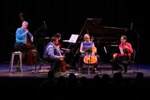 Ensemble Vivant L to R: Jim Vivian, bass, speaking to audience; Corey Gemmell, violin, Catherine Wilson, piano; Sybil Shanahan, cello; Norman Hathaway, viola. Photo by Marion Voysey