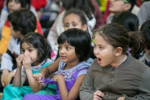 Young audience member's reactions while listening to the live concert.