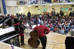Ensemble Vivant performing for young students at Rose Ave Jr PS