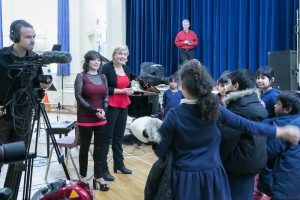 EV's Catherine Wilson, piano, and Sybil Shanahan, cello, engaged with students following the performance.