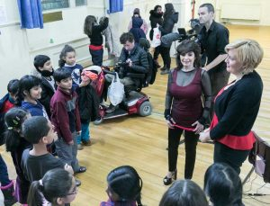 EV's pianist Catherine Wilson and cellist Sybil Shanahan interacting with students following the performance.