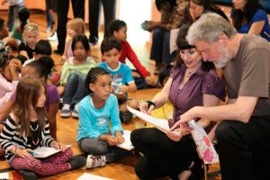 Pianist Catherine Wilson and Vibraphonist Don Thompson interacting with students and enjoying the children's expressive artwork that was inspired by Ensemble Vivant's live performance