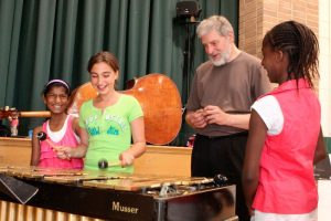 Students express their sheer joy and excitement as they take turns playing the vibes with master vibraphonist Don Thompson coaching